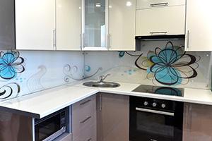Фартуки для кухни из стекла: фото - 372