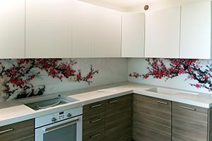Фартуки для кухни из стекла: фото - 378